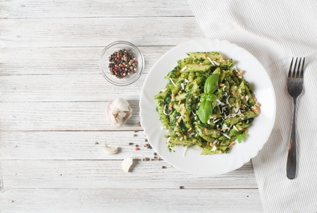 food dish: Penne Pasta with Pesto Sauce