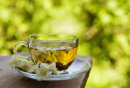 cup of tea: jasmine tea in glass cup Stock Photo