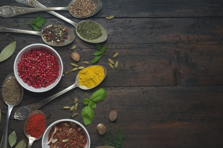 red food: Various spices selection. Stock Photo