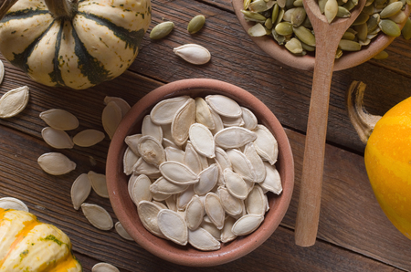 pumpkin seed: pumpkin with seeds Stock Photo