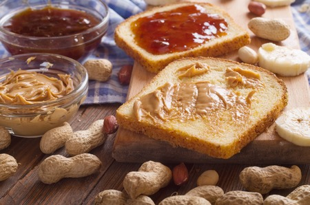 peanut butter and jelly sandwich: peanut butter sandwich Stock Photo
