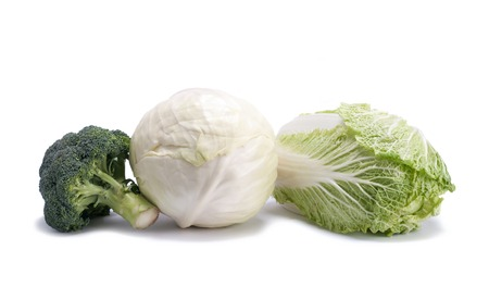 head of cauliflower: different varieties of cabbage on a white background Stock Photo
