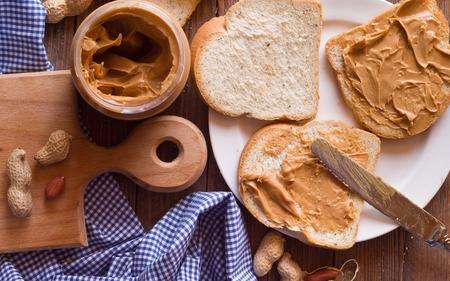 peanut butter: peanut butter sandwich Stock Photo