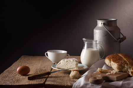 wood products: still life with dairy products Stock Photo