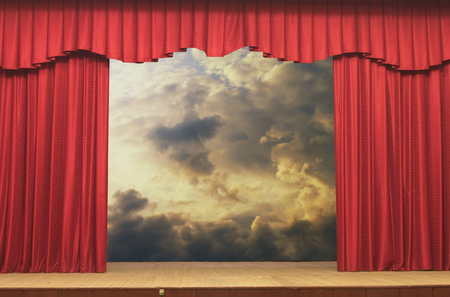 red curtains: Open curtains on the background of the sky background