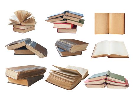 libros antiguos: colección de libros aislados en blanco