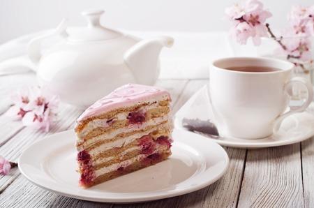 cake slice: Pink cake