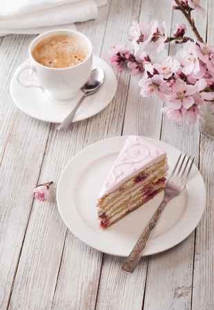 coffee and cake: Pink cake
