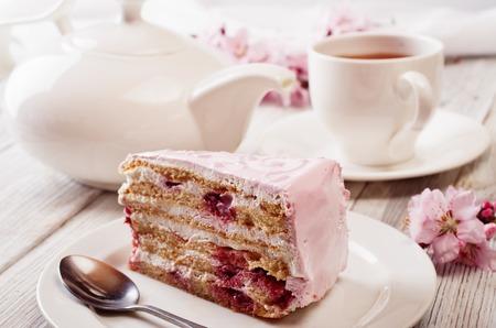 porcion de torta: Rosa pastel
