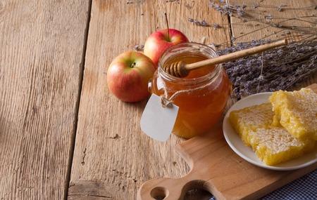 dipper: Honey jar with dipper Stock Photo