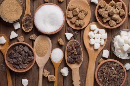 Verschillende soorten suiker Stockfoto