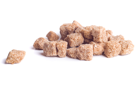 sugar cube: Brown sugar cube isolated Stock Photo