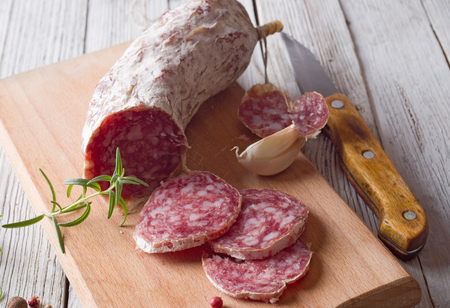 italian salami: Sliced Italian Salami Stock Photo