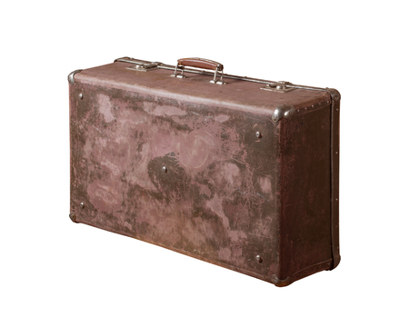 Vintage leather suitcase on white background
