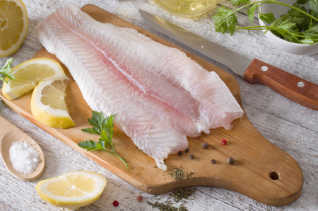 Fillet of fish on a kitchen board Stockfoto