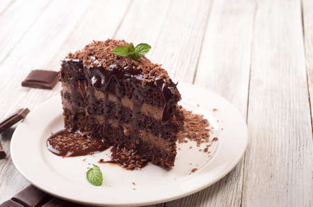 A piece of chocolate cake with mint on the table Standard-Bild