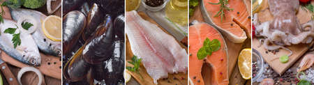 a collage of pictures of different seafood Standard-Bild