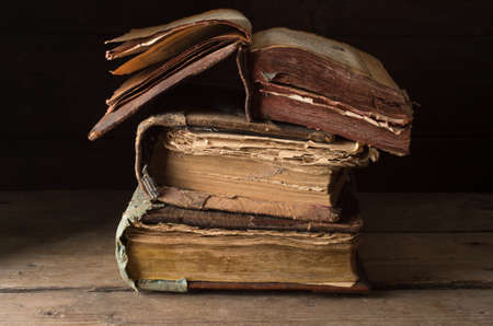 Old antique book on a wooden table