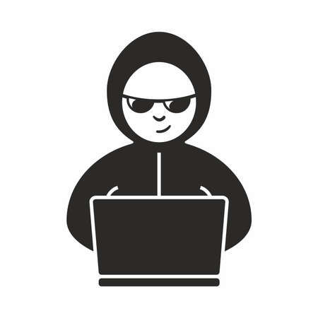 internet fraud: Hacker icon Illustration