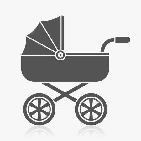 baby birth: Baby carriage icon Illustration