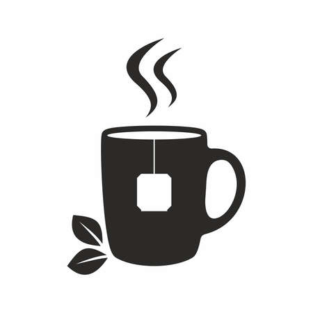 steam of a leaf: Cup of fresh green tea Illustration
