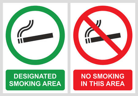 permitted: No smoking and smoking area labels