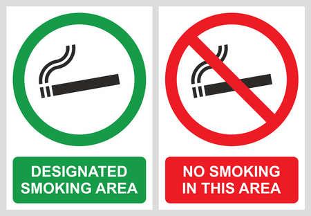 smoking place: No smoking and smoking area labels