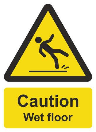 Vorsicht nassen Boden Zeichen Vektorgrafik