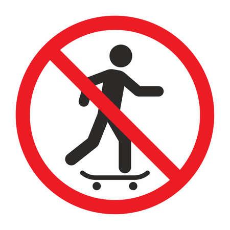 No skateboarding sign Illustration