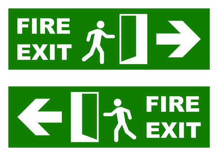 going away: Emergency fire exit sign Illustration