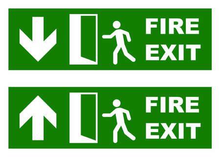 exit: Emergency fire exit sign Illustration