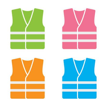 High visibility vest icon set