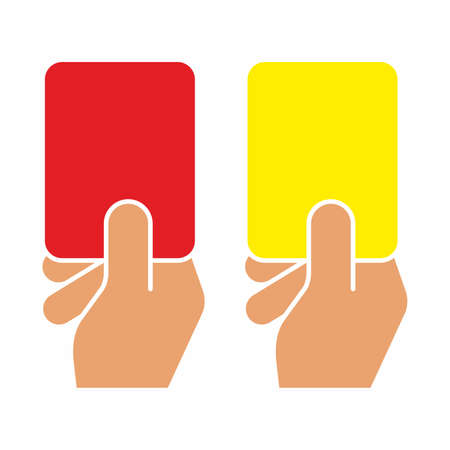 Football judge hand with a card. Red card and yellow card of football.