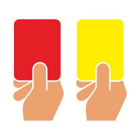 Voetbal rechter hand met een kaart. Rode kaart en gele kaart van voetbal.
