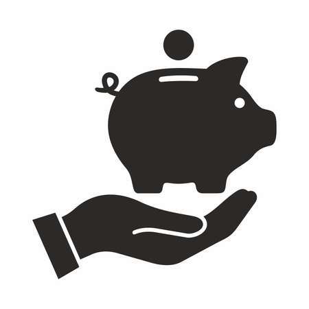 Piggy bank in hand. Vector icon.