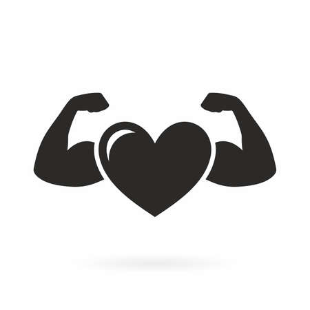 Strong health icon, heart with muscle arms Ilustracja