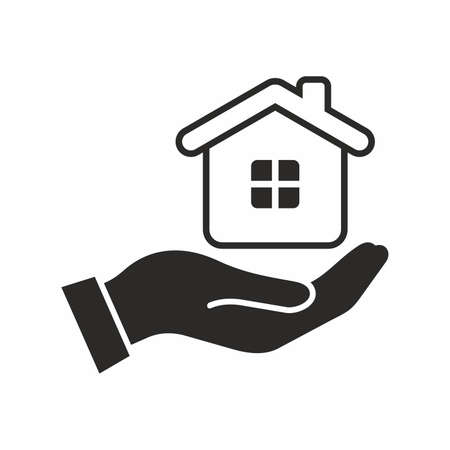 House in hand. Vector icon.