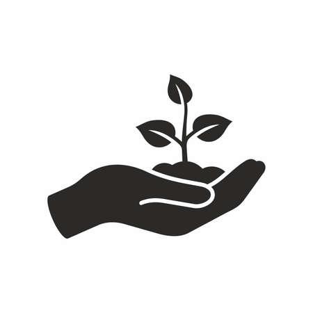 Plant in hand. Vector icon. Ilustracja