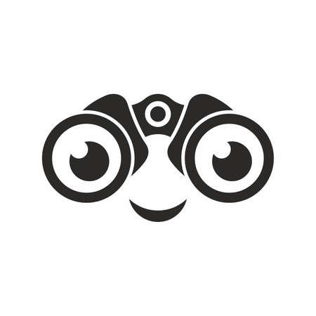 Smiley looking through binoculars Ilustracja