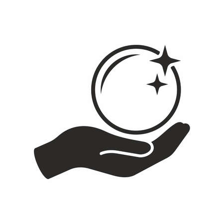 Crystal ball in hand. Vector icon.