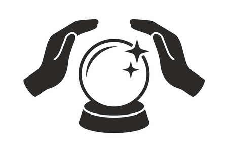 Kryształowa kula w rękach. Ikona wektor.