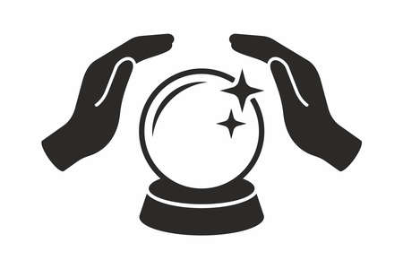 Crystal ball in hands. Vector icon.