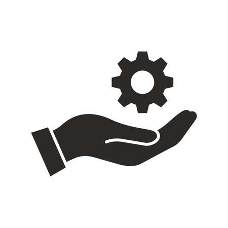 Hand holding a gear. Vector icon.