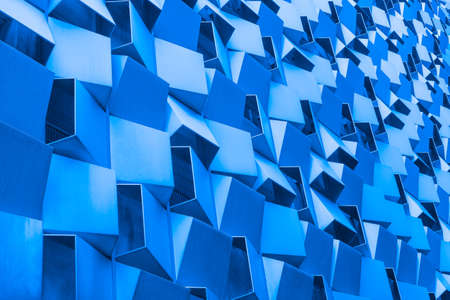 Modern architecture background. Building exterior. Blue background.