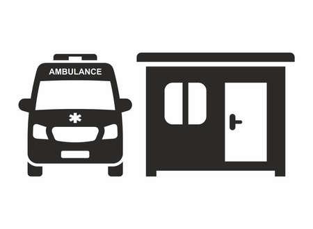 Coronavirus testing site. Ambulance icon. Coronavirus (COVID-19) pod. Vector icon isolated on white background.