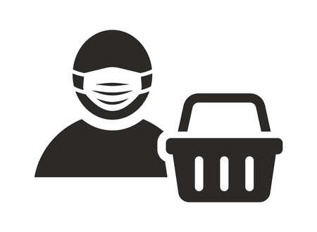 Face mask icon. Wear a face covering in shops and supermarkets. Man wearing medical face mask. Vector icon isolated on white background.