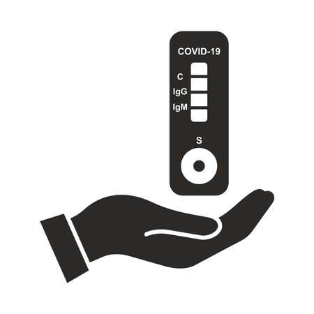 Coronavirus, COVID-19 antibody test icon. Blood test. Rapid strep test (RST). Rapid antigen detection test (RADT).