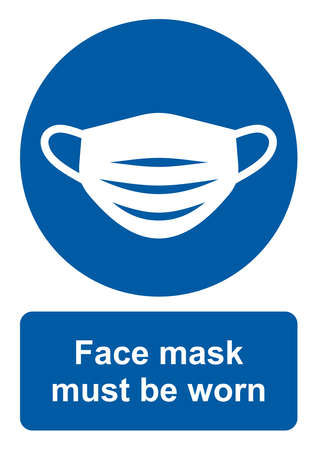 Safety sign, Face mask must be worn. Vector icon isolated on white background.