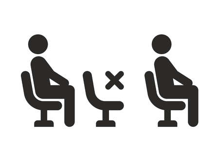 Social distancing icon. Safe distance on public transport. Keep middle seats empty. Vector icon isolated on white background. 向量圖像