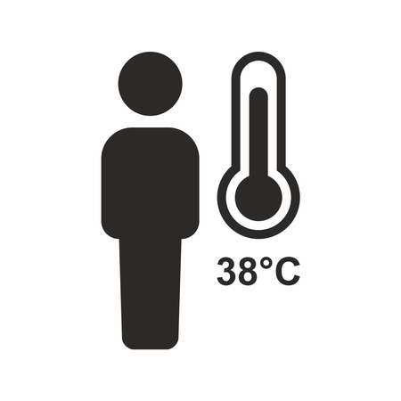 Fever, high temperature icon. Vector icon isolated on white background. 向量圖像